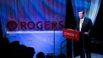 Rogers Communications Chairman Edward Rogers speaks to shareholders during the Rogers annual general meeting in Toronto on Friday, April 20, 2018. THE CANADIAN PRESS/Nathan Denette