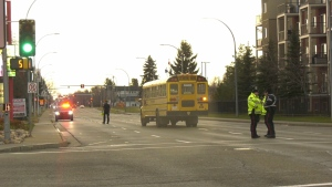 A school bus was involved in a crash the morning of Oct. 25, 2021, 167 Street and 100 Avenue. (Darcy Seaton/CTV News Edmonton)
