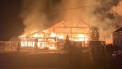 A garden centre greenhouse went up in flames in Orangeville, Ont., on Sat., Oct. 23, 2021 (Supplied)