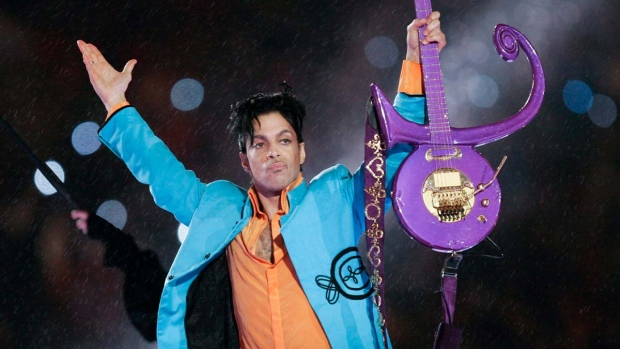 Prince performs during halftime of the Super Bowl XLI football game in Miami on Feb. 4, 2007. (AP Photo/Chris O'Meara, File)