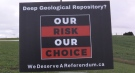 An 'Our Risk, Our Choice' sign about a potential nuclear waste storage location is seen near Teeswater, Ont. is seen Monday, Oct. 25, 2021. (Scott Miller / CTV News)