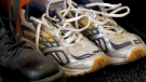 A pair of shoes donated to Soles 4 Souls at BioPed Footwear and Orthotics in Orillia, Ont., on Monday, Oct. 25 (Craig Momney/CTV News)