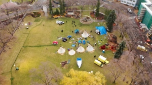 """A drone image of a """"sit-in"""" camp on the Alberta legislature grounds on Oct. 25, 2021(Cam Wiebe/CTV News Edmonton)"""