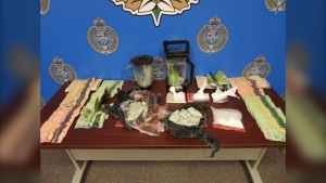 Items seized during search of a residence on Rayburne Avenue, Oct. 23, 2021. (Source: Sarnia police)