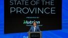 Saskatchewan Premier Scott Moe speaks at a the State of the Province Address Prairieland Park in Saskatoon, Monday, October 25, 2021. THE CANADIAN PRESS/Liam Richards