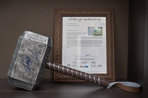 A Thor hammer signed by Chris Hemsworth and Stan Lee up for auction by the Grace Hospital Foundation. (Source: Grace Hospital Foundation)