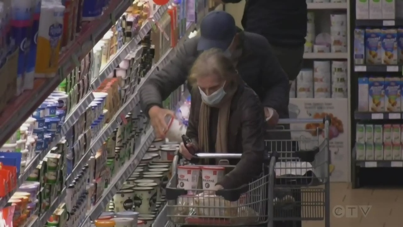 Customers wear face masks as they shop for groceries. FILE IMAGE (CTV News)