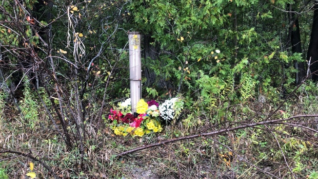A memorial has been set up for a teenager who died after a collision in Brock, Ont. (Mike Walker/CTV News Toronto)
