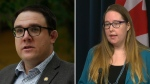 Government House Leader Jason Nixon and Opposition House Leader Christina Gray differed on when Alberta should review the response to the COVID-19 pandemic (File photos).