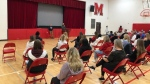 Damian Warner speaks to students at Medway High School, Oct. 25, 2021. (Nick Paparella / CTV News)