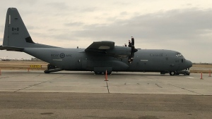 A military plane transporting medical personnel arrived late Monday afternoon to help transport COVID-19 patients. (Chad Hills/CTV Saskatoon)