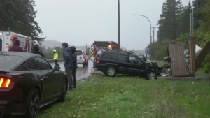 The driver of the vehicle was taken to hospital for treatment of non-life-threatening injuries as a precaution: (CTV News)