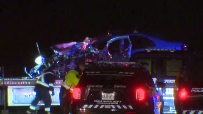 Waterloo regional police are investigating a collision between a car and a transport truck in Cambridge. (CTV Kitchener)