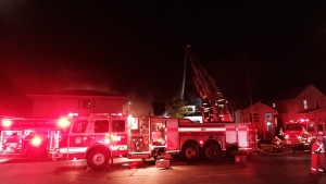 Fire crews on the scene of a fire along Nairn Avenue Monday Oct. 25, 2021. (Source: Dan Timmerman/CTV News)