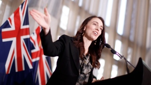 New Zealand Prime Minister Jacinda Ardern announces in Wellington, Friday, Oct. 22, 2021, an ambitious target of fully vaccinating 90% of eligible people to end coronavirus lockdowns. (Robert Kitchin/Pool Photo via AP)