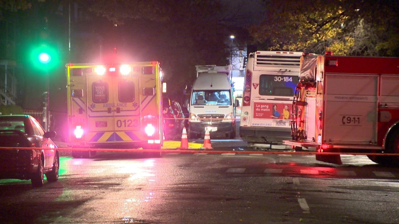 Montreal police are investigating after a 46-year-old man was struck and killed by a STM bus around 11 p.m. on Monday, Oct. 25, 2021. (Cosmo Santamaria/CTV News)