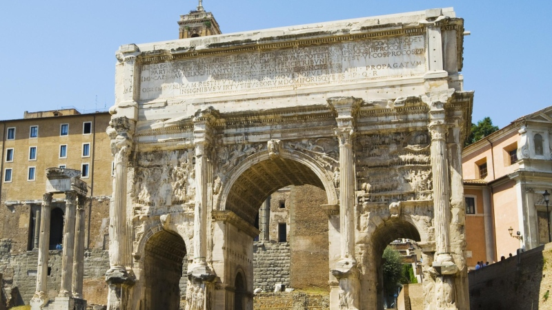 The Arch of Septimius Severus in Rome is being fortified with billions of bacteria that have been fed enzymes in order to calcify. (John Harper/Moment RF/Getty Images)