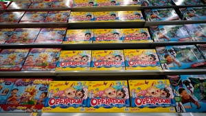 In this Nov. 9, 2018, file photo Operation made by Hasbro is displayed shelves in the expanded toy section at a Walmart Supercenter in Houston. (AP Photo/David J. Phillip, File)