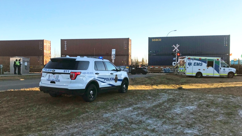 Drivers were asked to avoid the area near Maple Road and 8 Street in southeast Edmonton on Oct. 26, 2021, after a pedestrian was involved in a collision with a train.
