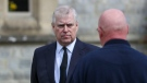 Prince Andrew attends the Sunday service at the Royal Chapel of All Saints at Royal Lodge, Windsor in England on Sunday, April 11, 2021. (Steve Parsons/Pool Photo via AP, File)