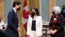Prime Minister Justin Trudeau, left, and Gov. Gen. Mary May Simon, right, pose with Anita Anand, minister of national defence, at a cabinet swearing-in ceremony at Rideau Hall in Ottawa, Tuesday, Oct.26, 2021 THE CANADIAN PRESS/Adrian Wyld