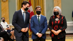 Prime Minister Justin Trudeau, left, and Gov. Gen. Mary May Simon, right, pose with Steven Guilbeault, minister of environment and climate change, at a cabinet swearing-in ceremony at Rideau Hall in Ottawa, Tuesday, Oct.26, 2021 THE CANADIAN PRESS/Adrian Wyld