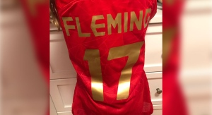 A number 17 jersey from Canada's Women's National Team gifted to a young girl in Ottawa, Ont. by Jessie Fleming. (Source: Nigel Wallis)