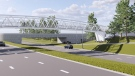 A rendering of a new footbridge that will connect West Edmonton Mall and West Meadowlark, to be completed in 2022. (Source: City of Edmonton)