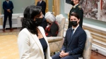 Prime Minister Justin Trudeau, right, looks on Anita Anand, minister of national defence, is sworn in at a cabinet swearing-in ceremony at Rideau Hall in Ottawa, Tuesday, Oct. 26, 2021. THE CANADIAN PRESS/Adrian Wyld