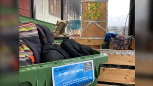 An outerwear clothing drop-off donation box organized by Barrie Families Unite in Barrie, Ont., on Tuesday, Oct. 26 (KC Colby/CTV News)