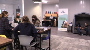 Youth gather at The Grove Hub in Palmerston, Ont. on Tuesday, Oct. 26, 2021. (Scott Miller / CTV News)