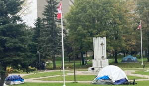 A legion president in Sudbury said Tuesday the city has now told her the Remembrance Day ceremony in Memorial Park will go ahead, but in a shared space with homeless people living there. (Alana Everson/CTV News)