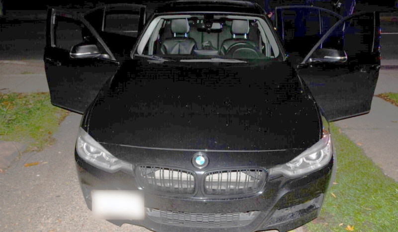 Three people were arrested inside this black BMW early Tuesday morning in Sault Ste. Marie. (Supplied)