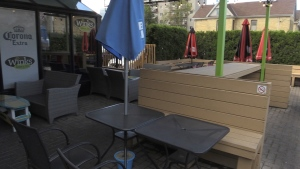 The patio at Winks Eatery in London, Ont. is seen Tuesday, Oct. 26, 2021. (Bryan Bicknell / CTV News)