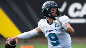 Toronto Argonauts quarterback Nick Arbuckle (9) prepares to throw during first half CFL football game action against the Hamilton Tiger Cats in Hamilton, Ont., Monday, Sept. 6,2021. (THE CANADIAN PRESS/Peter Power )