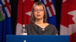 Dr. Deena Hinshaw, Alberta's chief medical officer of health, provides an update on COVID-19 and back-to-school guidance in Edmonton, Friday, Aug. 13, 2021. THE CANADIAN PRESS/Jason Franson
