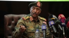 Sudan's head of the military, Gen. Abdel-Fattah Burhan, speaks during a press conference at the General Command of the Armed Forces in Khartoum, Sudan, Oct. 26, 2021. (AP/Marwan Ali)