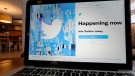 The login/sign up screen for a Twitter account on a laptop computer in Orlando, Fla. is seen here on April 27, 2021. (AP Photo/John Raoux, File)