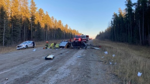 A two-vehicle crash south of the O'Chiese First Nation sent three people to hospital. (Supplied)