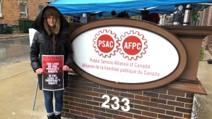 Stacey Payne is a federal public servant and founder of Feds for Freedom, a group of federal public servants that opposes disclosing vaccination status to their employer as a matter of privacy. (Dave Charbonneau/CTV News Ottawa)