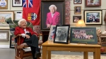 """Hazel McCallion sits inside one of the exhibits that make up """"Hazel: 100 Years of Memories"""" on its opening day. (Scott Lightfoot/CTV News Toronto)"""