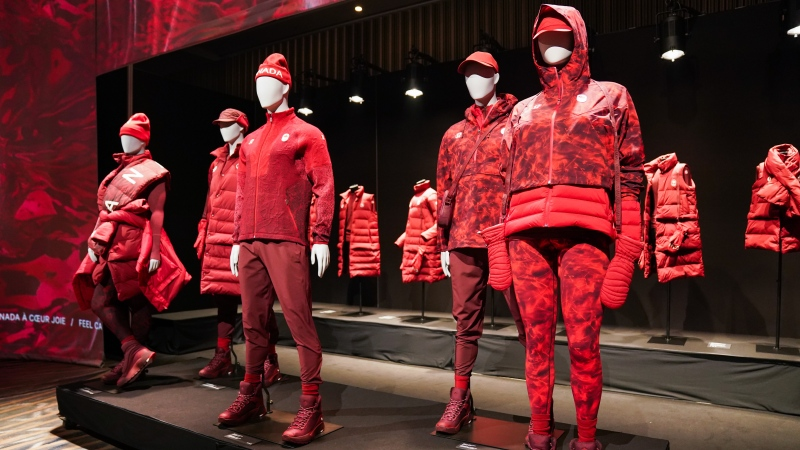 The new Lululemon athlete kit at the Team Canada x Lululemon Athlete Kit Reveal in Toronto on Tuesday, October 26, 2021. Lululemon will outfit Canada's Olympic and Paralympic athletes starting with the upcoming Winter Games in Beijing. THE CANADIAN PRESS/Evan Buhler