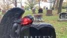 A vandalized statue at a cemetery near Trenton, Ont. (Kimberley Johnson/CTV News Ottawa)