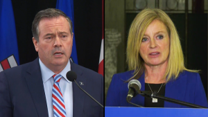Premier Jason Kenney and NDP leader Rachel Notley both express concerns about Canada's new environment minister on Oct. 26, 2021.