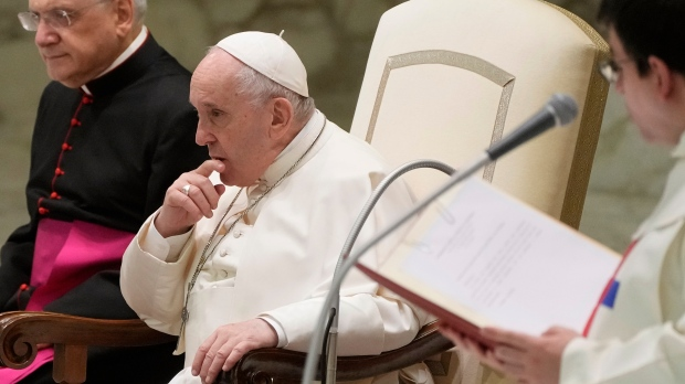 Pope Francis leads the weekly general audience at the Vatican, Wednesday, Oct. 27, 2021. (AP Photo/Gregorio Borgia)