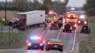One person has died following a head-on crash involving a transport truck near Aylmer, Ont. on Wednesday, Oct. 27, 2021. (Sean Irvine / CTV News)