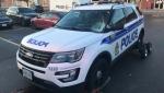 A damaged Ottawa police cruiser outside Merivale Mall on Wednesday, Oct. 27. (Jim O'Grady/CTV News Ottawa)