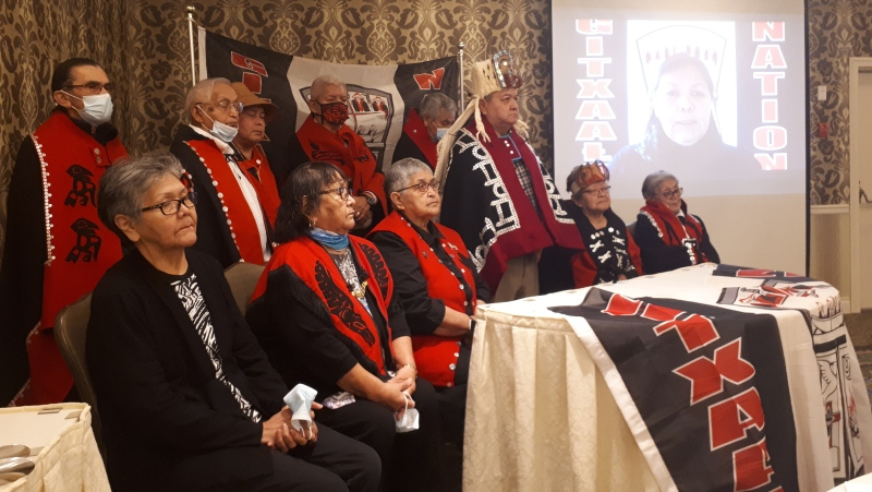 Gitxaała Elected and Hereditary Leadership are shown during a press conference in this undated photo. A B.C. coastal First Nation is challenging seven mineral claims on its territory and the process the provincial government uses to make those claims, an online registry that automatically grants mineral rights. The Gitxaala petition to the court says the online registry mineral claims process doesn't require the government to consult with the first nation and simply grants the claim. THE CANADIAN PRESS/HO - Gitxaala Nation