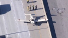 Plane on Hwy 407 after emergency landing
