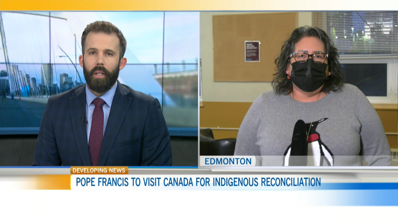 Bent Arrow Society's Cheryl Whiskeyjack says she expects to hear an apology from Pope Francis for the Catholic Church's role in Canada's residential schools.